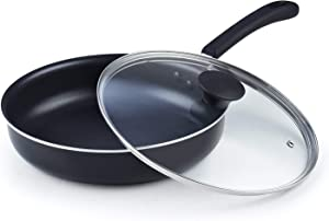 Cook N Home 02590 Nonstick Deep Fry Jumbo Cooker with Lid, Black 10.5-Inch Saute Pan