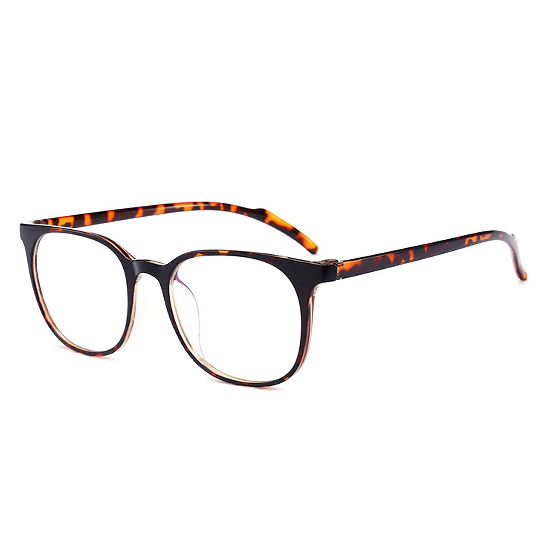 ANRRI Blue Light Blocking Computer Glasses for Anti Eyestrain Anti Glare Lens Lightweight Frame Eyeglasses Leopard Frame, Men/Women by ANRRI