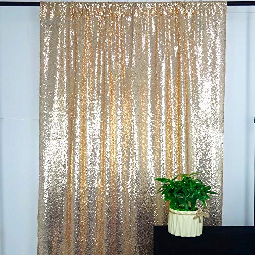 (HeMiaor Champagne 2x8ft Sequin Curtain for Wedding Backdrop Party Photography Background)