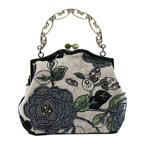 ILISHOP Women's Vintage Luxury Printing Beaded Women Handbag Evening Bag (Black)