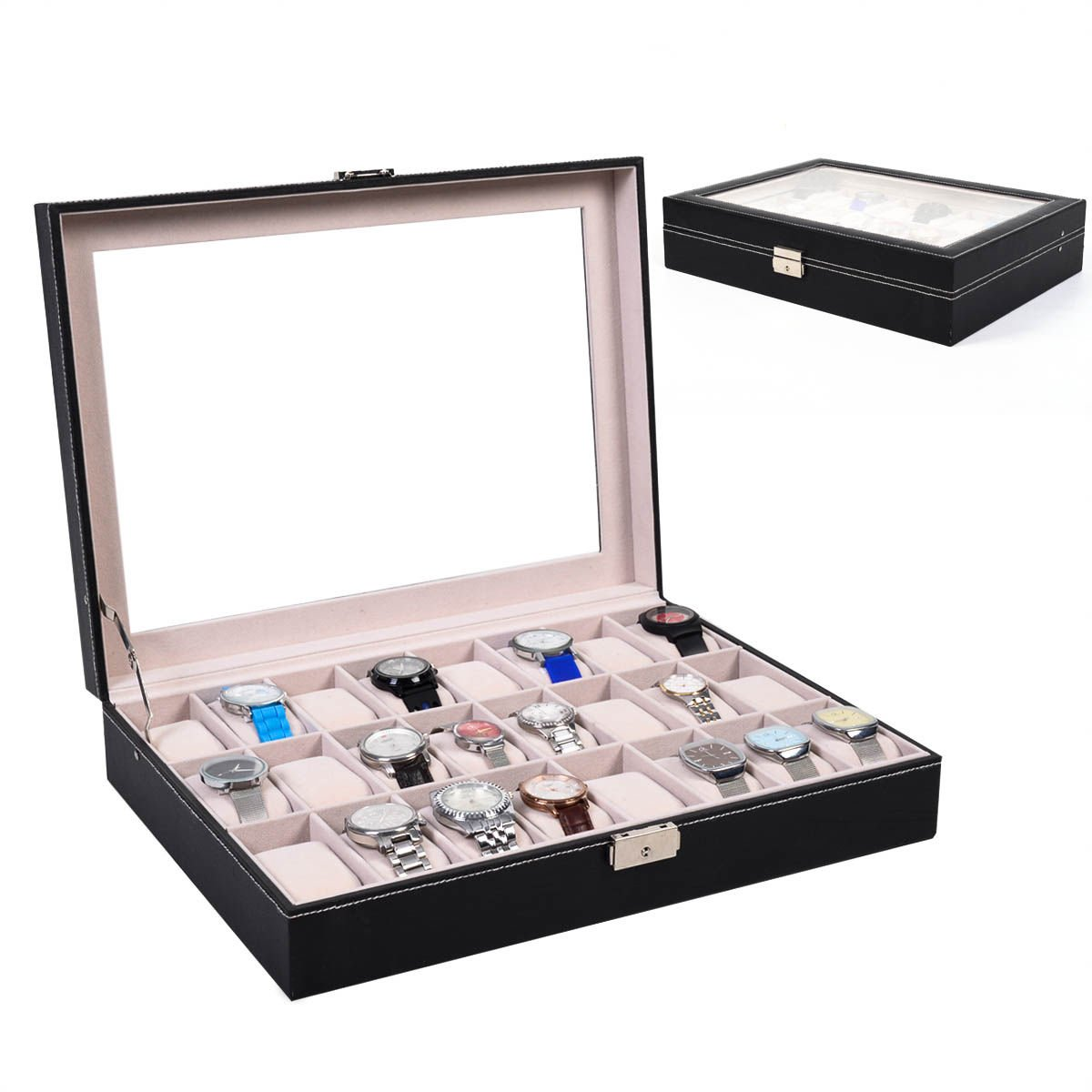 Amazoncom Super buy 24 Slot Leather Watch Box Display Case