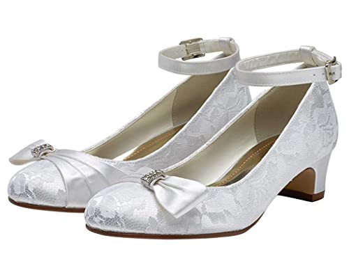 517f13072288 Miss Rainbow Kids Girls Communion Shoes with Low Heel and Ankle Strap -  Mint - White