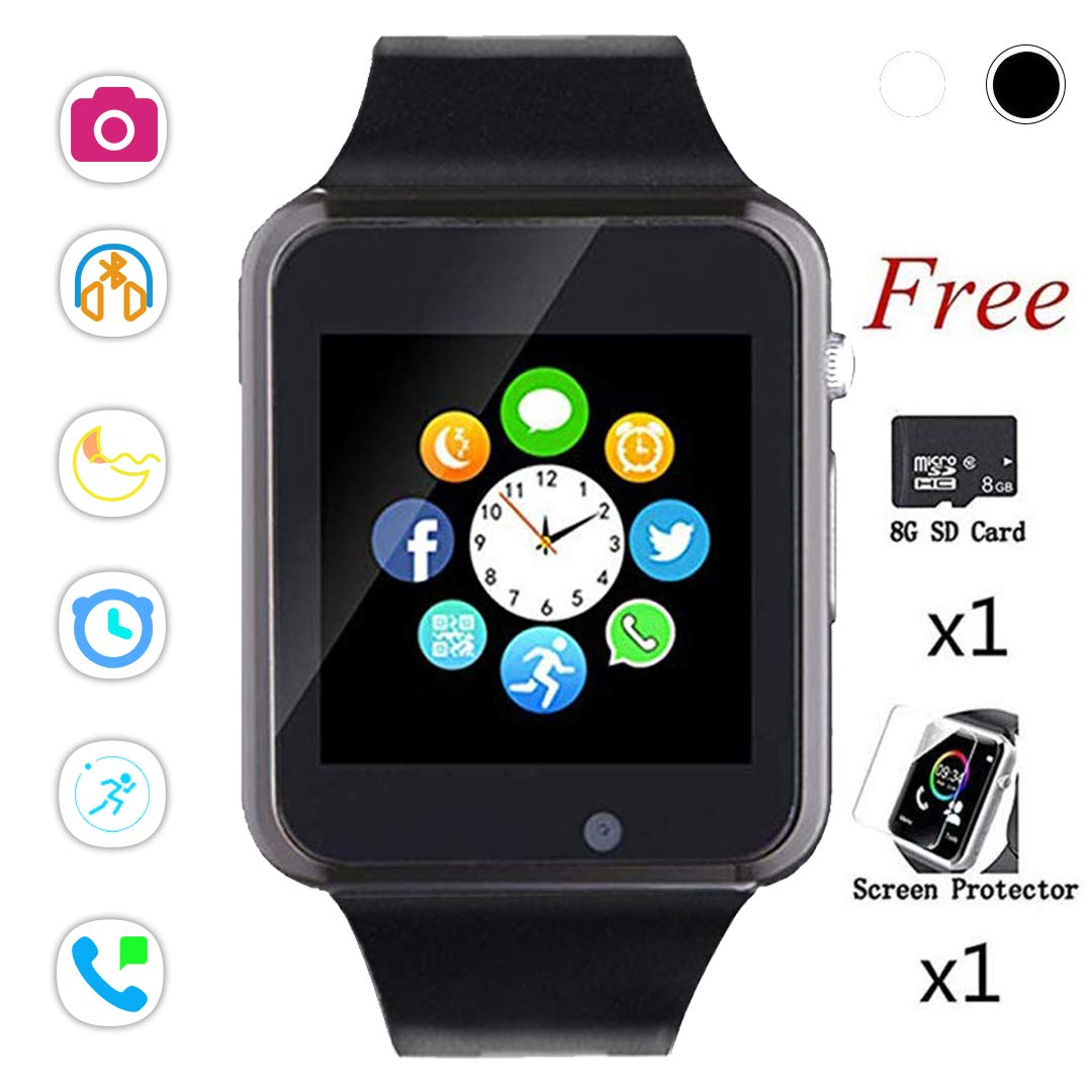 Beaulyn Bluetooth Smart Watch,Touch Screen Sport Wrist Watch Phone for Android Pedometer Smartwatch Compatible Samsung Men Women