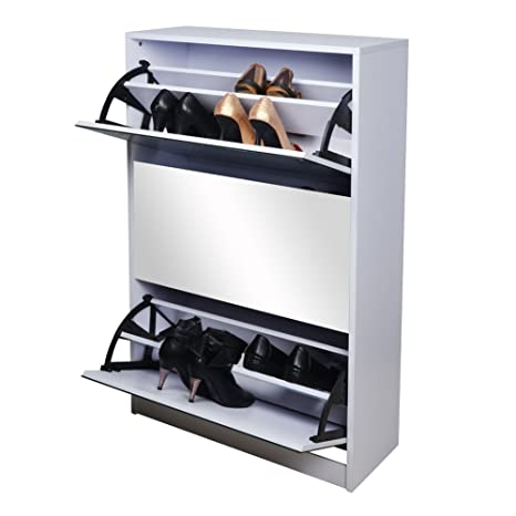 Amazon.com: GLS White Wooden Mirrored Shoe Cabinet Storage With 3 Doors For  Entryway: Home U0026 Kitchen