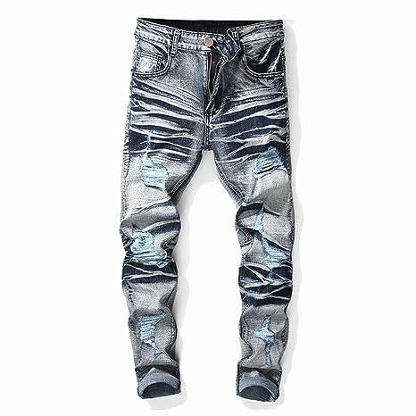 Pantalones vaqueros para hombre Jeans de agujero masculino ...