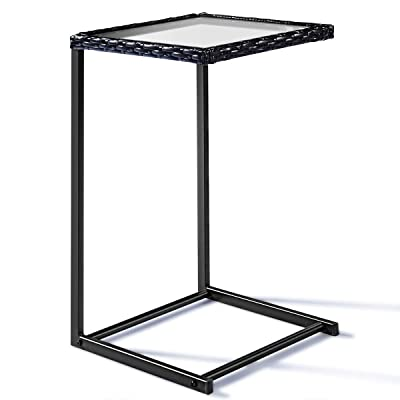 Tangkula Patio Wicker Sofa, Outdoor C-Shape Rattan, Coffee Desk Side End Table Furniture for Home Office, Steel Construction & Square Glass Top, Black: Kitchen & Dining