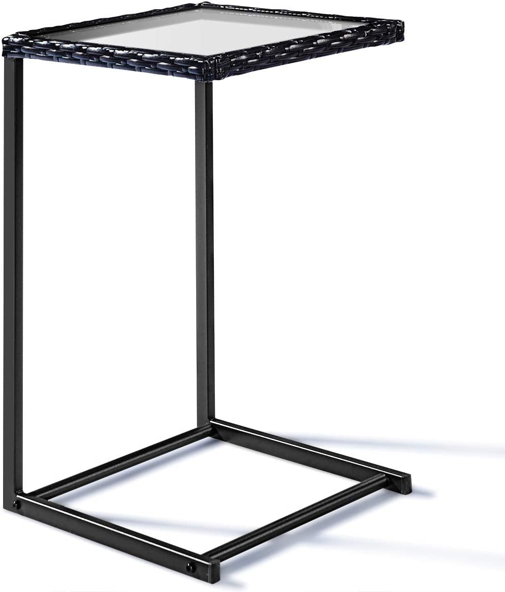 Tangkula Patio Wicker Sofa, Outdoor C-Shape Rattan, Coffee Desk Side End Table Furniture for Home Office, Steel Construction Square Glass Top, Black