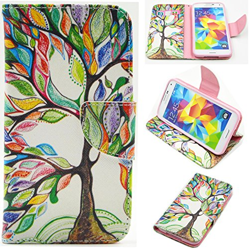 S5 Case / Galaxy S5 i9600 Case,DIOS CASE(TM) Magnet Clasp Flap Closure PU Synthetic Leather Foldable Stand Folio Flip with Card Slot Wallet Case Cover for Samsung Galaxy S5 i9600 (Life Tree)