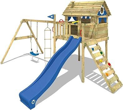 WICKEY Parque infantil de madera Smart Plaza con columpio y tobogán azul, Casa de juegos de jardin con arenero y escalera para niños: Amazon.es: Bricolaje y herramientas