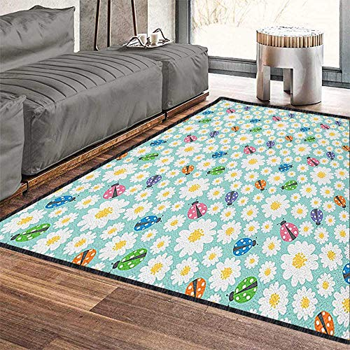 (Ladybugs Fashionable and Affordable Rugs,Colorful Daisies and Ladybirds Image Good Luck Charm Discover Your True Self Concept Textured Geometric Design Multi 79