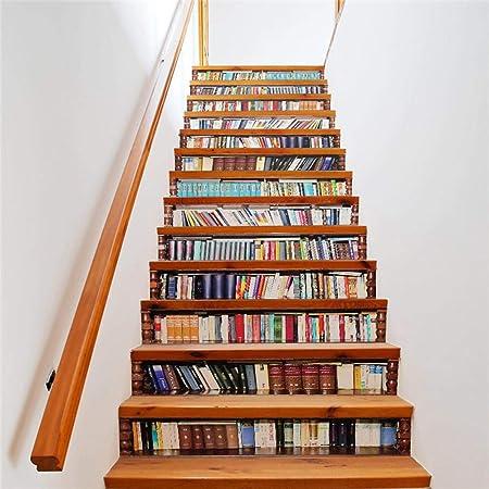 MEIMEIDA 3D Pegatinas de escaleras, Estante para Libros Impresión Modelo Bricolaje Mural PVC Impermeable Casa Oficina Bar Interior Decoración de escaleras Etiqueta Steic Sticke B-10 * 18cm*13pcs: Amazon.es: Hogar