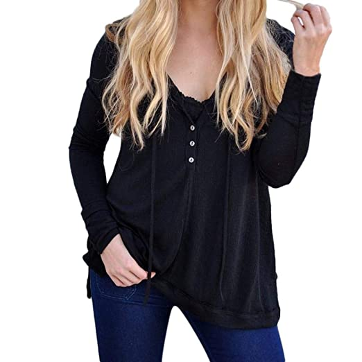 0325ceb9fe Wintialy 2018 Women s Fashion Casual Long Sleeve V-Neck Button Autumn Blouse