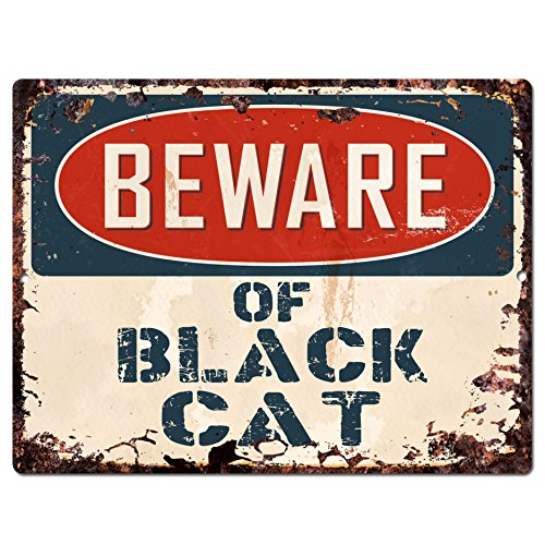 Beware of BLACK CAT Chic Sign Rustic - Halloween Holiday wall