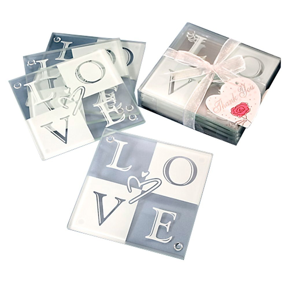 Amazon.com: Set of 4 Glass L O V E Coasters: Kitchen & Dining