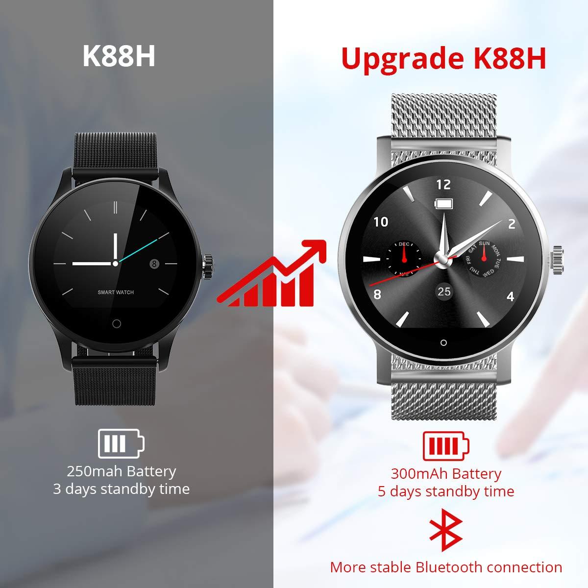 Diggro K88H Smartwatch Reloj Inteligente Podómetro Monitor de Ritmo cardíaco siri Recordatorio de Llamada y SMS Recordatorio de sueño para iOS y Android ...