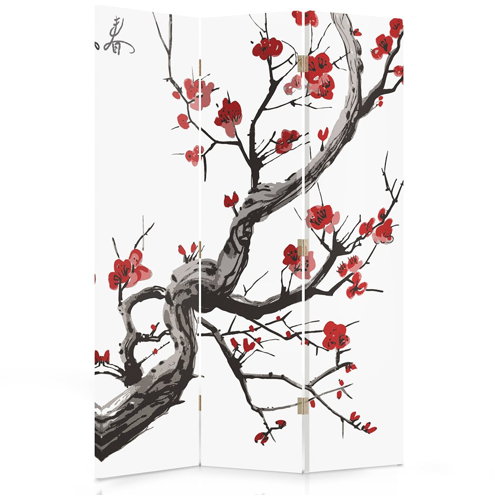 Feeby Frames Canvas Screen, Decorative Room Divider, Paravent, Single sided, 3 panels (110x150 cm) JAPANESE FLOWERING CHERRY, WHITE, RED, BLACK