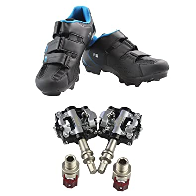 Comfortable breathable black shoes F-55 lock mountain bike shoes and pedals M19