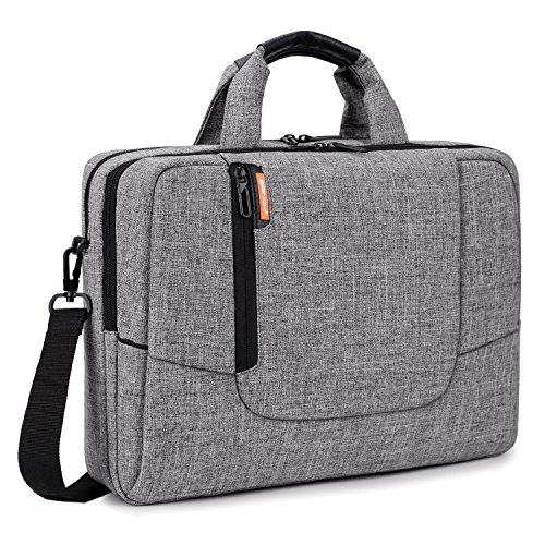 top Computer Case Cover Sleeve Shoulder Strap Bag with Side Pockets Handles and Detachable for Laptop/Notebook/NetBook/Chromebook,Colour Light Grey ()
