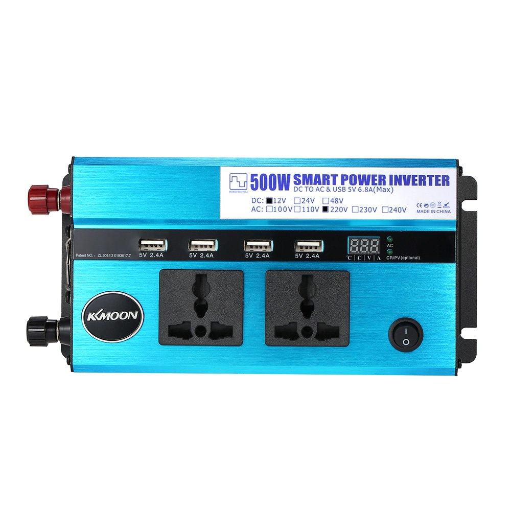 2 Enchufe de Mechero Encendedor Pantalla LCD Mostrar Tensi/ón y Temperatura KKmoon 500W Inversor de Corriente para Coche DC 12V a AC 220V 50Hz con 4 Puerto USB