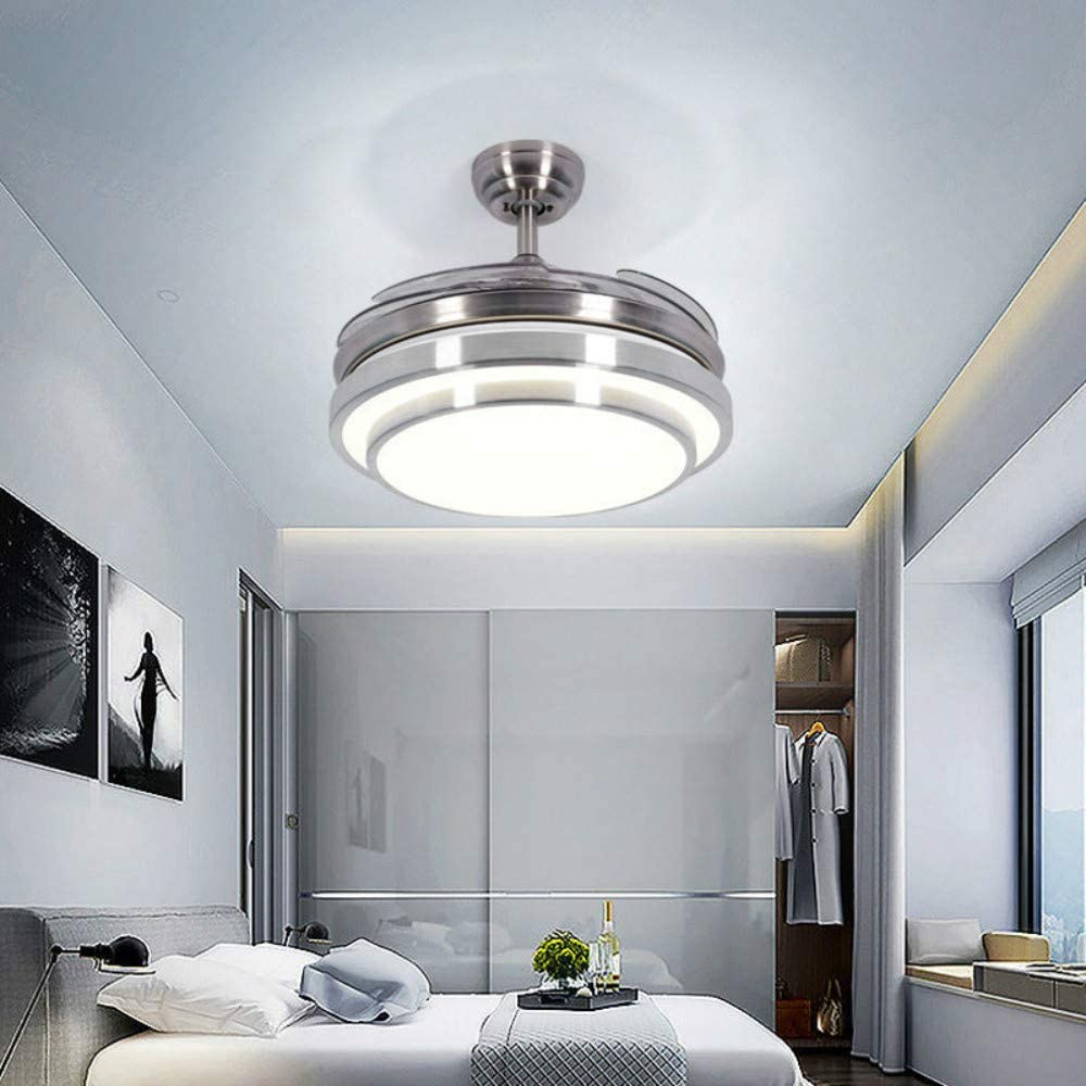Lighting Groups Invisible Ceiling Fans with Lights 42 Modern LED Ceiling Fan with Remote Control, 4 Retractable Blades Fan Chandelier for Livingroom Diningroom Bedroom 42 Inch, Chrome
