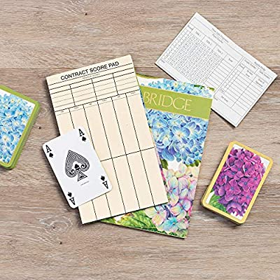 Caspari Hydrangea Garden Large Type Bridge Gift Set, 2 Playing Card Decks & 2 Score Pads: Toys & Games