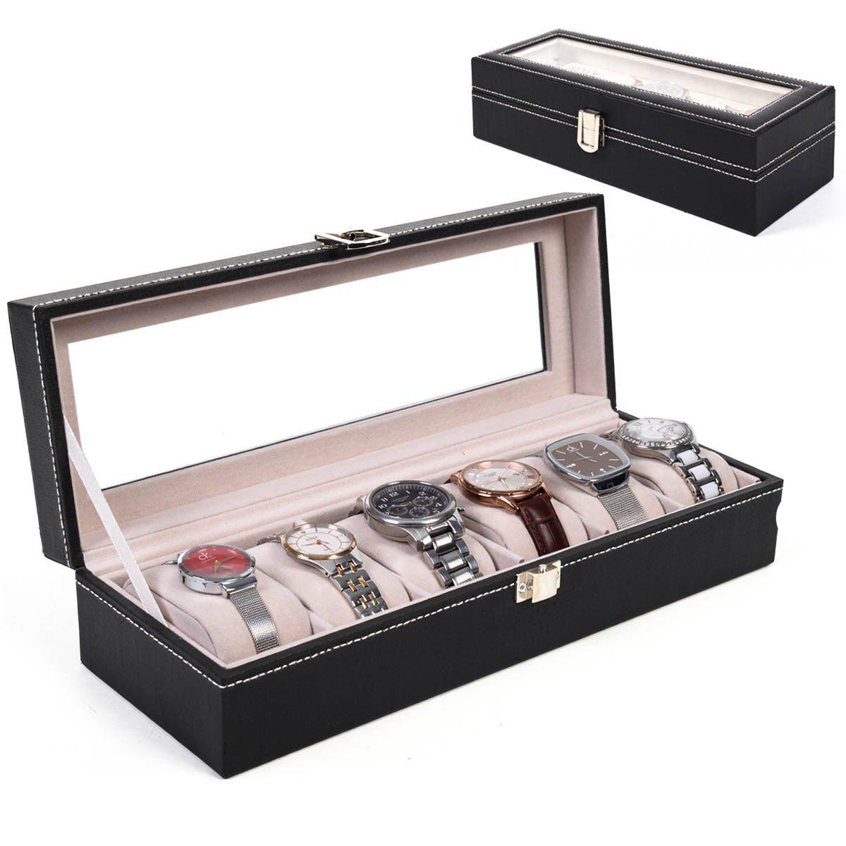 6スロットレザー腕時計ボックスディスプレイケースオーガナイザーガラストップジュエリーストレージFinished滑らかなラインと美しいCraft SilveryメタルClosure B01LZHECFQ