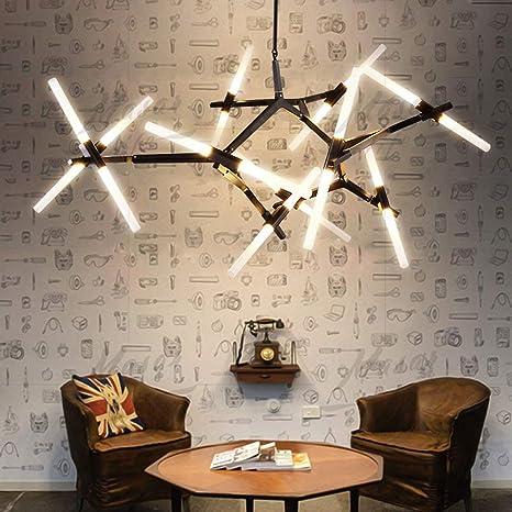 Modern Industrial Chandelier Metal Acrylic Branch Pendant Lamp Light DIY  Ceiling Fixtures for Living Room Dining Room Lamps (20-Light Black)