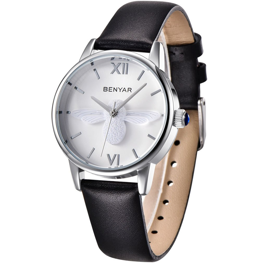BENYAR Waterproof Cute Bee Ladies Watches Leather Strap Business Casual Wrist Watch for Women (Black Silver White)