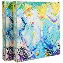 """Comix Heavy Duty Premium Designer 3 Round Ring Fashion Binder, 1"""", Letter Size, 2 Pack, A2134Z (Painting)"""