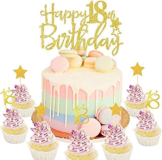 Pleasing Set Of 21 Jevenis Gold Glitter Happy 18Th Birthday Cake Topper Funny Birthday Cards Online Hetedamsfinfo