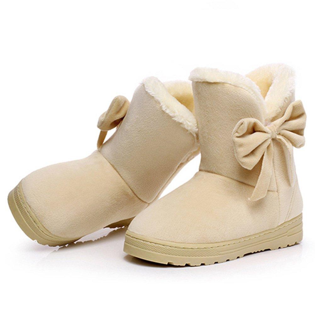 Temofon Women Winter Fur Ankle Snow Boots Round Toe Casual Warm Shoes Flats Beige 7