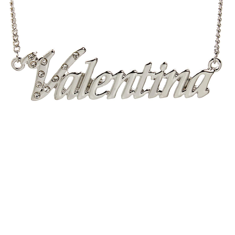bf9c058b8e035 Amazon.com: Zacria Name Necklace Valentina - 18K White Gold Plated ...