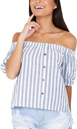 Blusas De Mujer Elegantes Verano Manga Corta Hombro Descubierto Cuello Barco Rayas Shirt Classic Vintage Casual Camisa Blusa Top Señora Moda Fiesta: Amazon.es: Ropa y accesorios