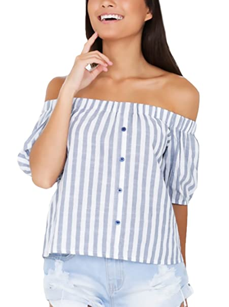 Blusas De Mujer Elegantes Verano Manga Corta Hombro Descubierto Ropa Dama Moderno Cuello Barco Rayas Shirt