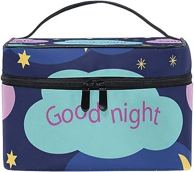 Buenas Noches Estuche de Maquillaje de Patrones sin Fisuras Bolsa de cosméticos, Capacidad y Bolsas de Maquillaje Ajustables Bolsa de Aseo Impermeable: Amazon.es: Equipaje