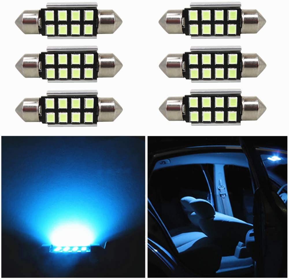 WLJH 39mm Pack of 10, Ice blue Extremely Bright 2835 Chipset Canbus Error Free LED Festoon Bulbs for Interior Car Lights License Plate Dome Map Door Courtesy Bulb 1.54