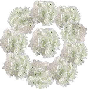 BigOtters Silk Hydrangea Heads, Artificial Flowers Heads with Stems for Home Wedding Decor, Pack of 10 (Baby White)