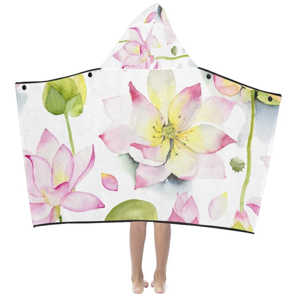 Loto pintado Flor de verano Suave y cálido Niños Vestir Con capucha Manta usable Toallas de baño Envoltura para niños pequeños Niño niña niño tamaño Viajar ...