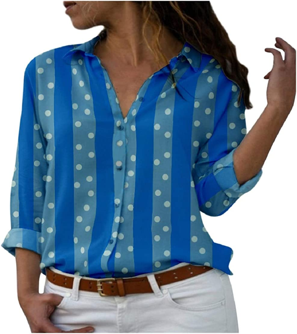 Womens Dot Striped Print Tunic Tops Button V Neck Long Sleeve T-Shirt Casual Loose Shirt Blouses Sopzxclim