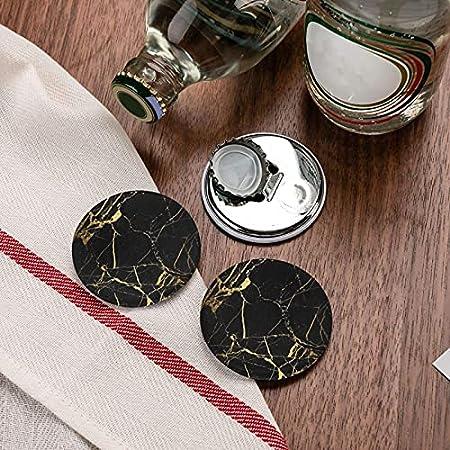 Abridores de botellas redondos con textura de mármol dorado con estilo 3d / imanes de nevera sacacorchos de acero inoxidable pegatina magnética 2 uds
