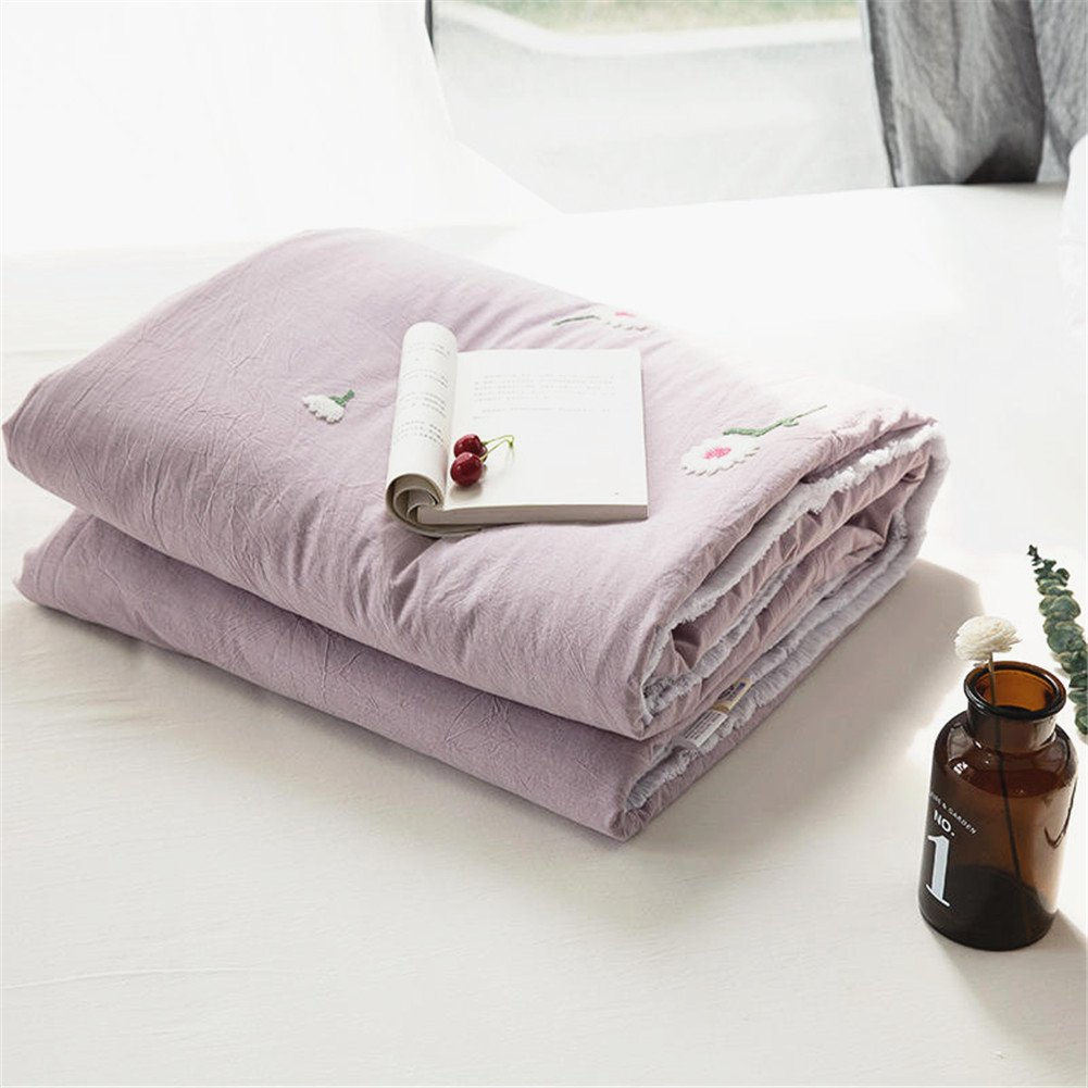 Abreeze Daisy Comforter Cotton Summer Quilt Bed Coverlet for Summmer Girls Floral Bedding Twin,Purple