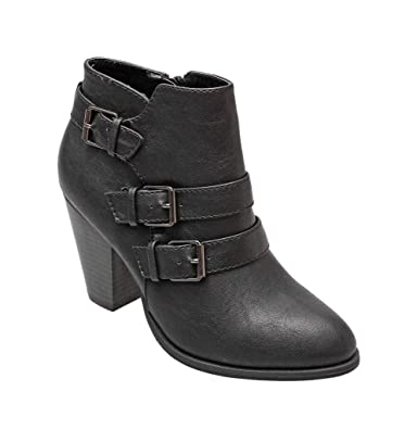 amazon com forever women s buckle strap block heel ankle booties