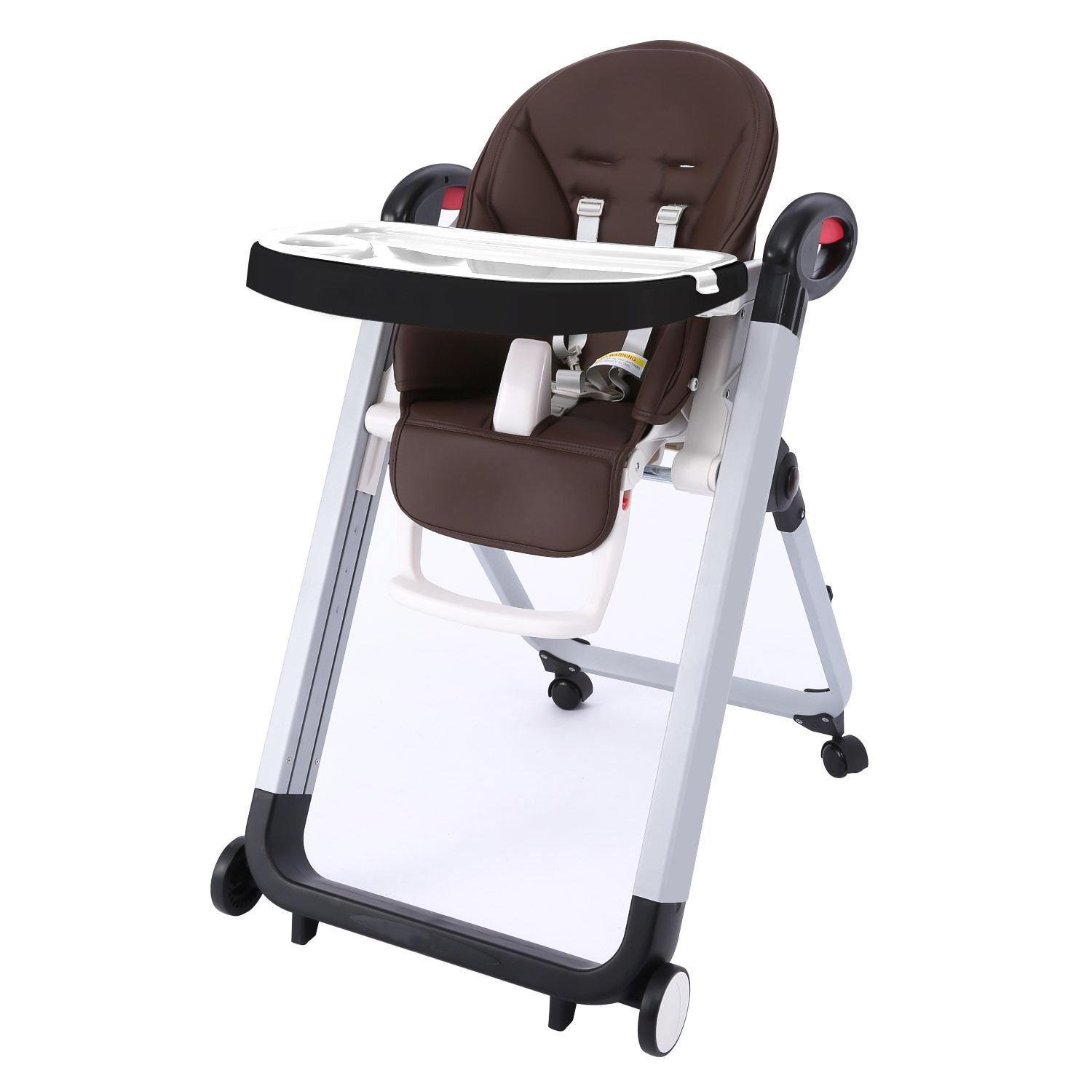 PEATAO Convertible High Chair for Baby Kids, Booster Toddler Dining Table Chair with Wheels (Dark Brown)