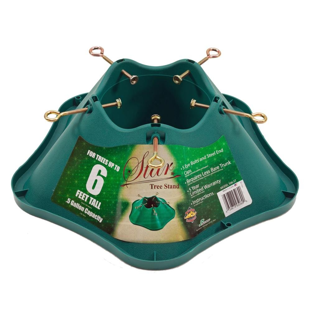 Star Live Christmas Tree Stand Made in USA, For Trees Up to 6 Feet (0.5 Gallon Water Capacity)