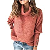 para Mujer de Color sólido del Cuello Alto suéter de Punto Caliente del Jersey del Puente Holgados Tops