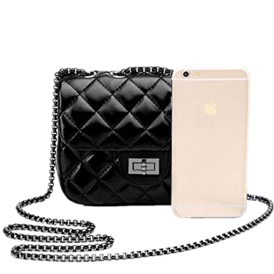 bb4e3a1e22 Meguer Women s Quilted PU Leather Cross-body Bag Girls Purse   Handbags  Chain Small Messenger