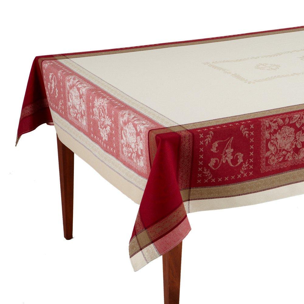 Monogramme Ecru/Bordeaux Jacquard French Provencal Tablecloth, 63 x 138 (10-12 people)