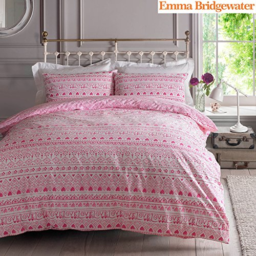 Emma Bridgewater Sampler Heart 2 Piece UK Double /US Full Sheet Set, 1 x Double Sided Sheet and 2 x Pillowcases (Sampler Ship)
