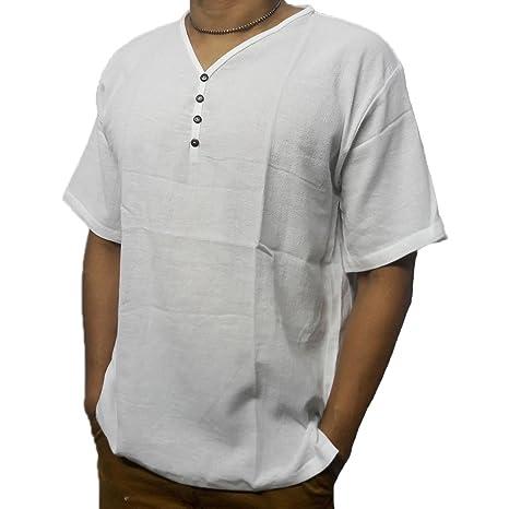 e346d84b9fb Amazon.com   deedeeshop White Men s Shirt V-Neck Thai Cotton Casual Summer  Hippie Beach Yoga PJ (XXL)   Garden   Outdoor