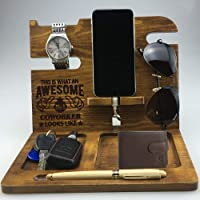 Coworker Gifts | for Women | Men | Coworker Leaving Gifts Wood Docking Station | Phone Holder